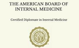 The American Board of Internal Medicine Certified Diplomate in Internal Medicine